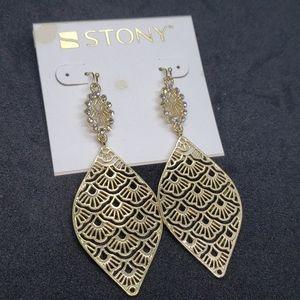 2/$13 Stony gold teardrop earrings